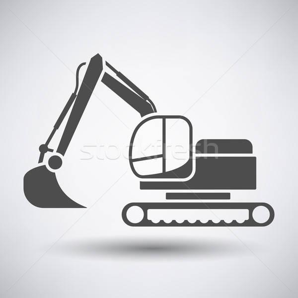 Construcción excavadora icono gris trabajo metal Foto stock © angelp
