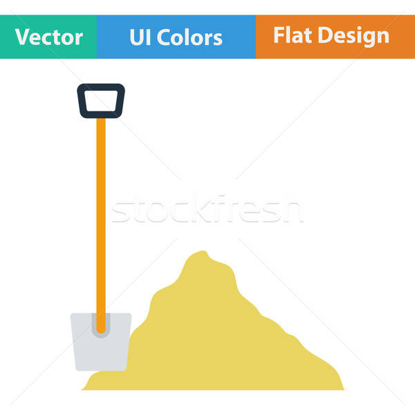 Flat design icon of Construction shovel and sand Stock photo © angelp