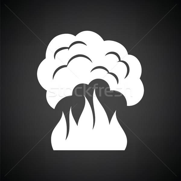 Fuego humo icono blanco negro resumen luz Foto stock © angelp
