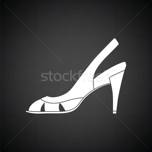 женщину икона черно белые краской фон торговых Сток-фото © angelp