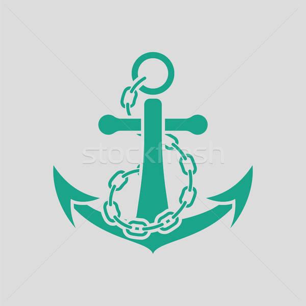 Deniz çapa zincir ikon gri yeşil Stok fotoğraf © angelp