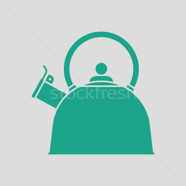 Keuken ketel icon grijs groene home Stockfoto © angelp