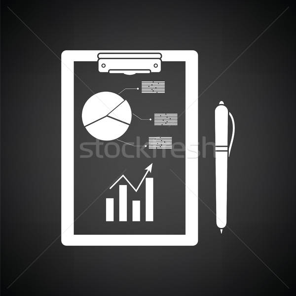 Schrijven tablet analytics grafiek pen icon Stockfoto © angelp