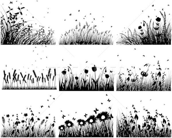 Stockfoto: Weide · silhouetten · negen · vector · gras · achtergronden