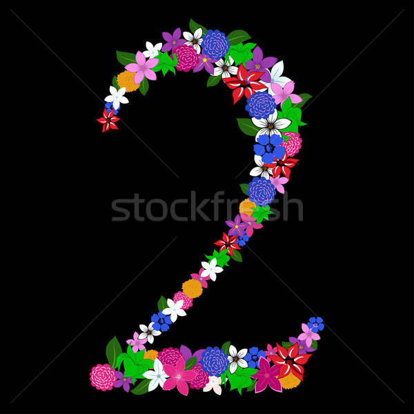 floral numeral Stock photo © angelp