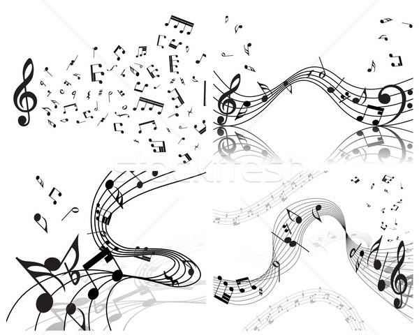 Merkt personeel ingesteld vector muziek merkt ontwerp Stockfoto © angelp