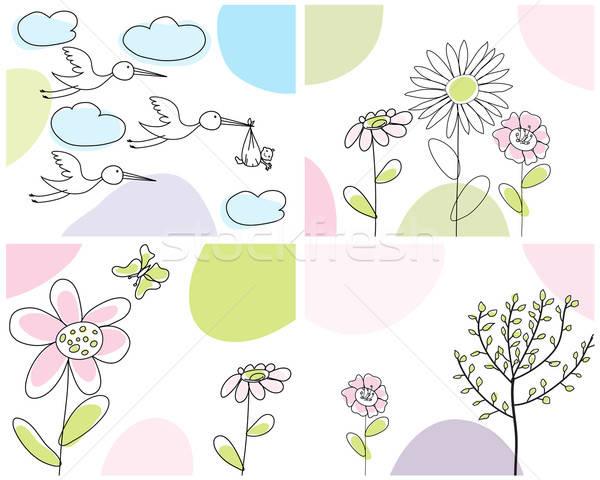 Stockfoto: Ingesteld · groet · kaarten · vier · vector · ontwerp