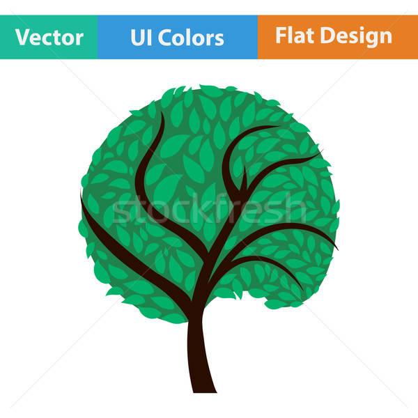 Ecologisch boom bladeren icon voorjaar bos Stockfoto © angelp