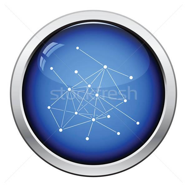 Kapcsolat net ikon fényes gomb terv Stock fotó © angelp