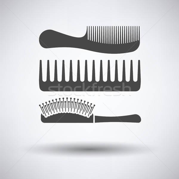 Escova de cabelo ícone cinza moda cabelo fundo Foto stock © angelp