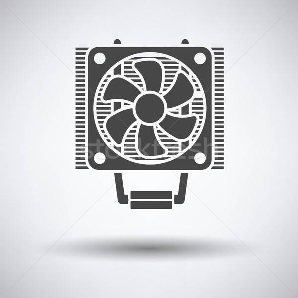 CPU ventilador icono gris tecnología metal Foto stock © angelp