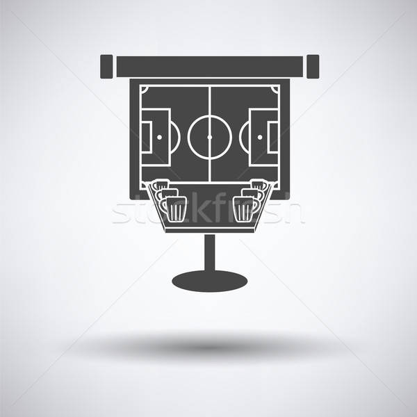 Sport bar table with mugs of beer and football translation on pr Stock photo © angelp