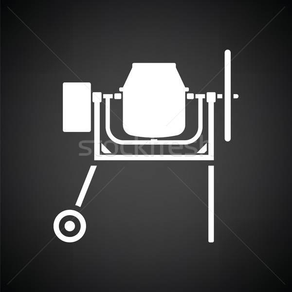 ícone concreto batedeira preto e branco edifício construção Foto stock © angelp