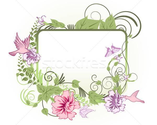 Foto stock: Floral · marco · resumen · vector · diseno · flores