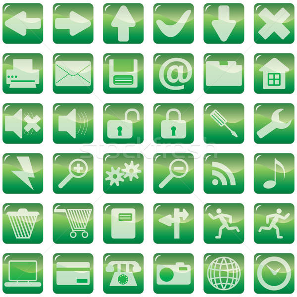 Szett internetes ikonok gyűjtemény zöld üzlet kezek Stock fotó © angelp