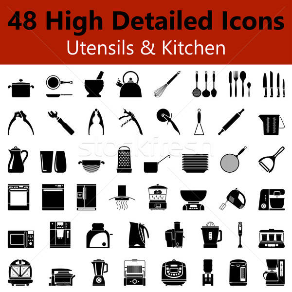 Utensils and Kitchen Smooth Icons  Stock photo © angelp