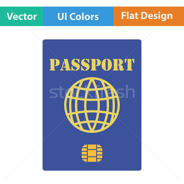 Design icône passeport puce ui couleurs Photo stock © angelp