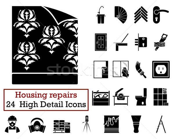 Set 24 alloggiamento icone nero Foto d'archivio © angelp