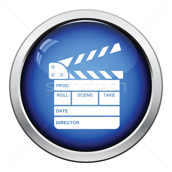 Film tábla ikon fényes gomb terv Stock fotó © angelp
