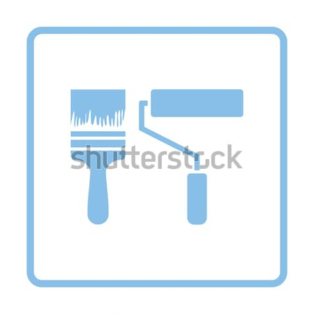 Icon of construction paint brushes Stock photo © angelp