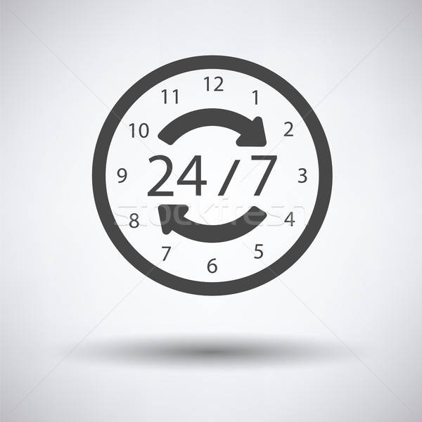 24 saat ikon gri arka plan alışveriş Stok fotoğraf © angelp