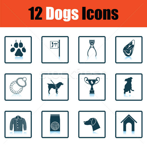 Stockfoto: Ingesteld · hond · teelt · iconen · schaduw