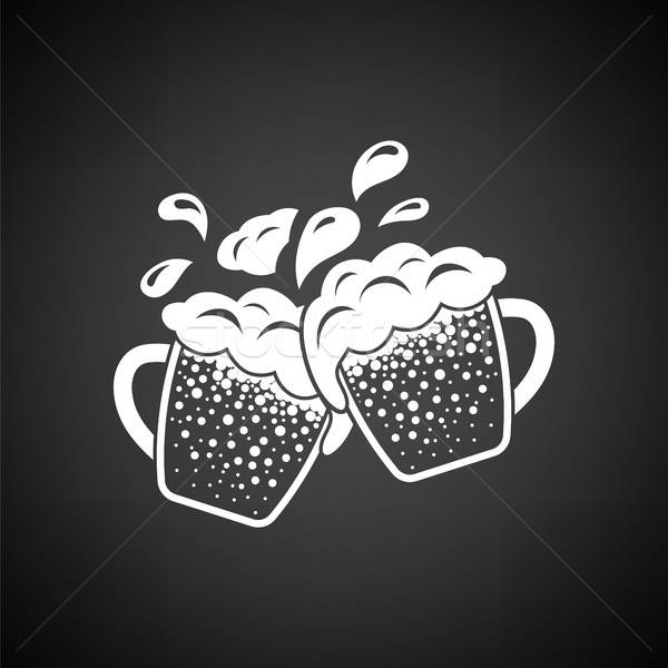Two clinking beer mugs with fly off foam icon Stock photo © angelp