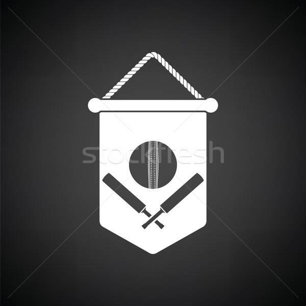 Krikett pajzs embléma ikon feketefehér tűz Stock fotó © angelp