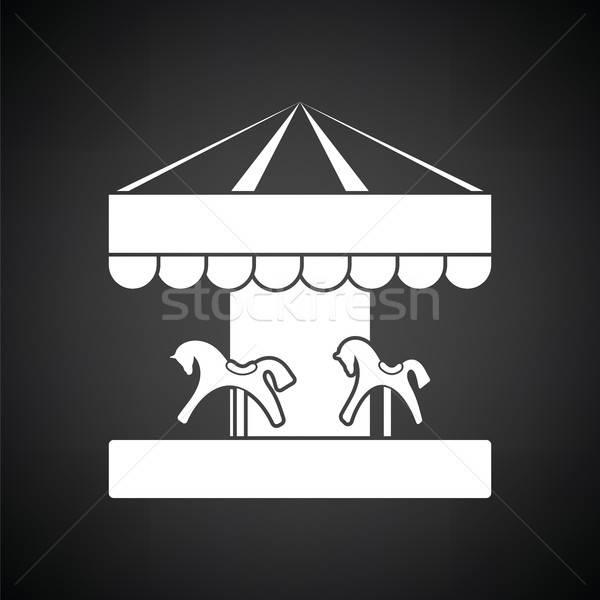 Kinderen paard carrousel icon zwart wit internet Stockfoto © angelp