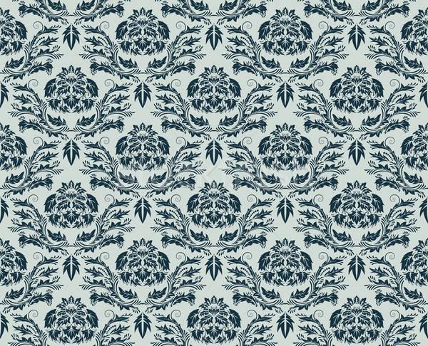 ストックフォト: シームレス · ダマスク織 · 抽象的な · ベクトル · デザイン · 葉