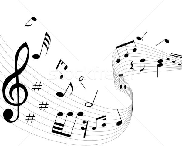 Muzik Notalari Hatlari Arka Plan Disko Boyama Siyah