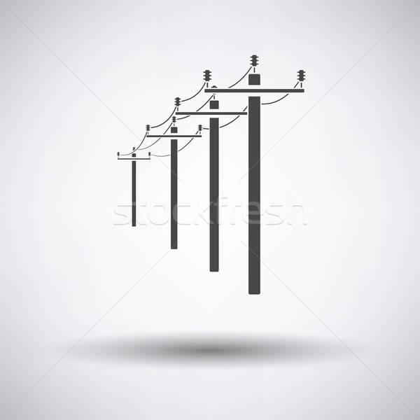 высокое напряжение линия икона серый технологий городского Сток-фото © angelp