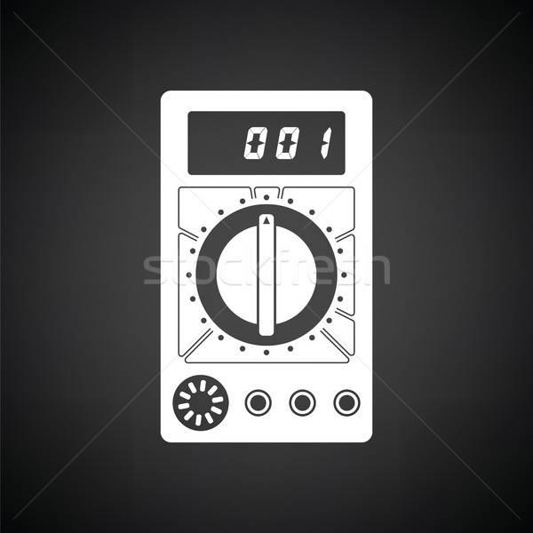 ícone preto e branco preto digital branco eletricidade Foto stock © angelp
