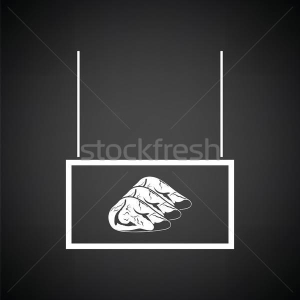 Vlees markt afdeling icon zwart wit teken Stockfoto © angelp