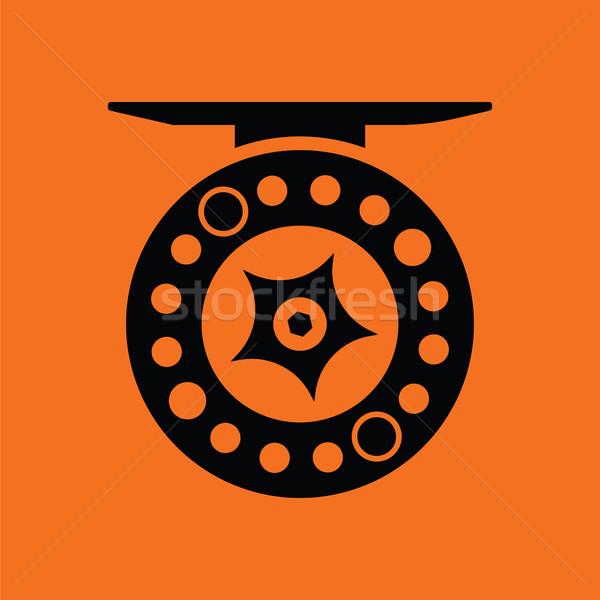 Icono pesca naranja negro deporte Foto stock © angelp