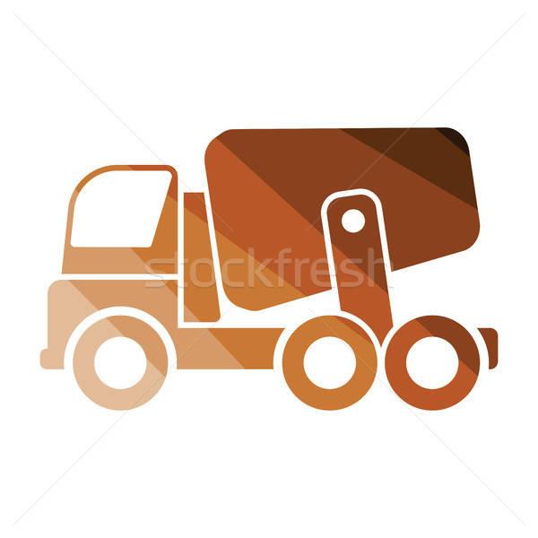 Ikona konkretnych miksera ciężarówka kolor projektu Zdjęcia stock © angelp