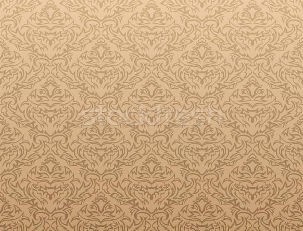 Adamaszek streszczenie bezszwowy projektu liści fali Zdjęcia stock © angelp