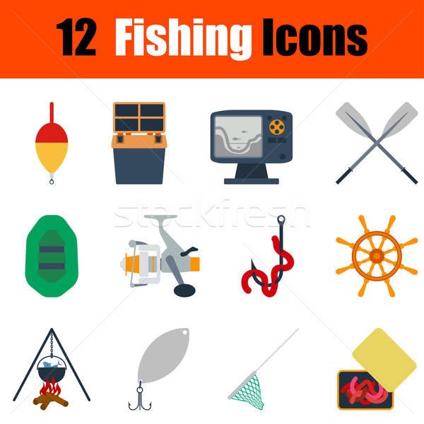 Flat design fishing icon set Stock photo © angelp