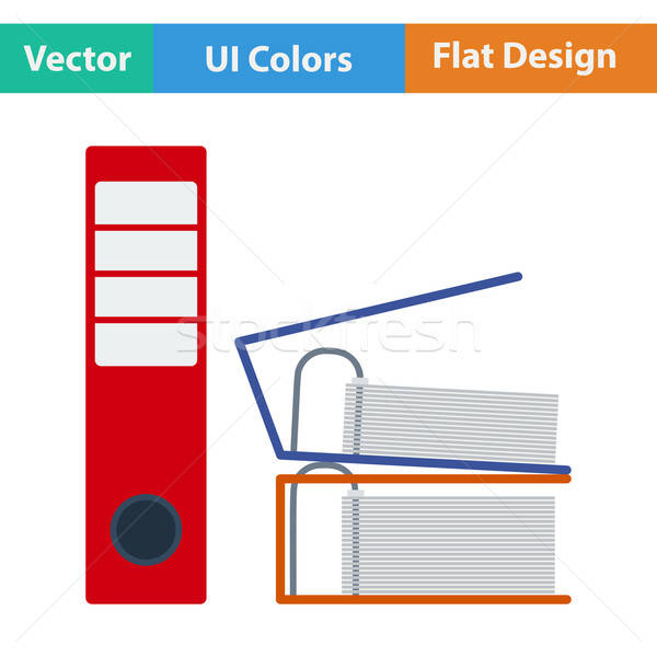 Flat design icon of Folders with clip Stock photo © angelp