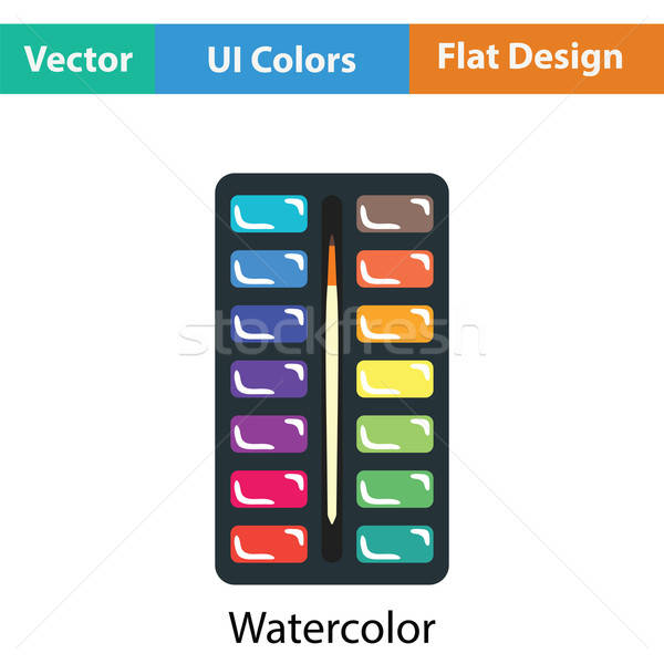 Watercolor paint-box icon Stock photo © angelp