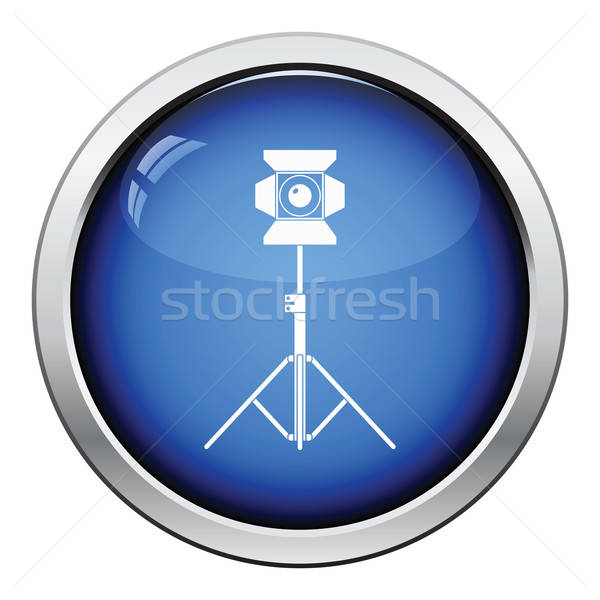 Fase projector icon glanzend knop ontwerp Stockfoto © angelp
