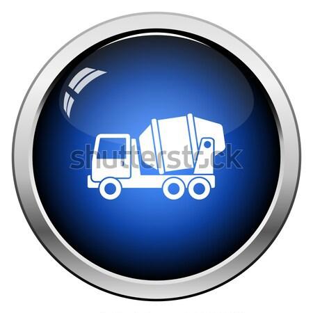 Ikon beton keverő teherautó fényes gomb Stock fotó © angelp