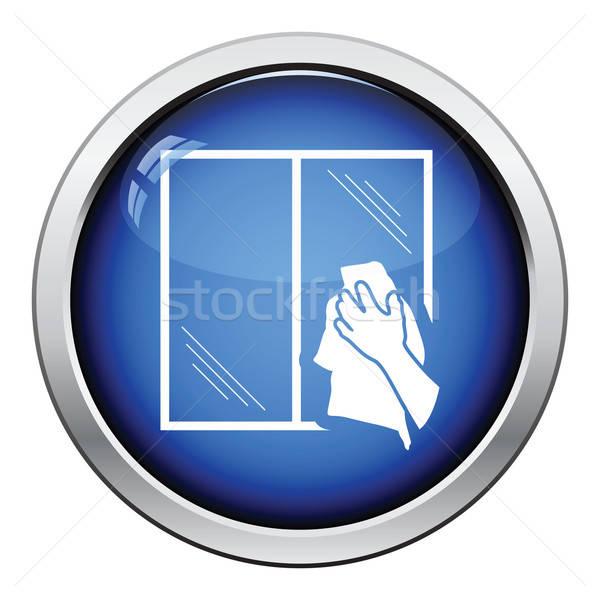 Foto stock: Mão · janela · ícone · botão · projeto
