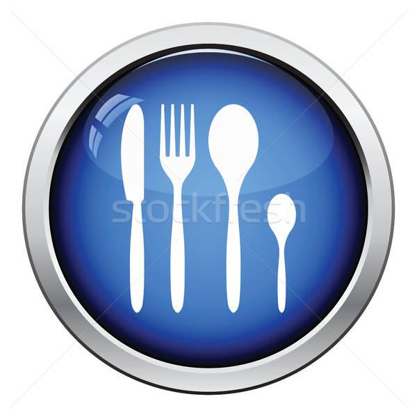 Ezüst étkészlet szett ikon fényes gomb terv Stock fotó © angelp