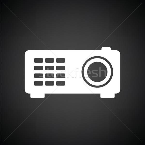 Videó projektor ikon feketefehér film fény Stock fotó © angelp