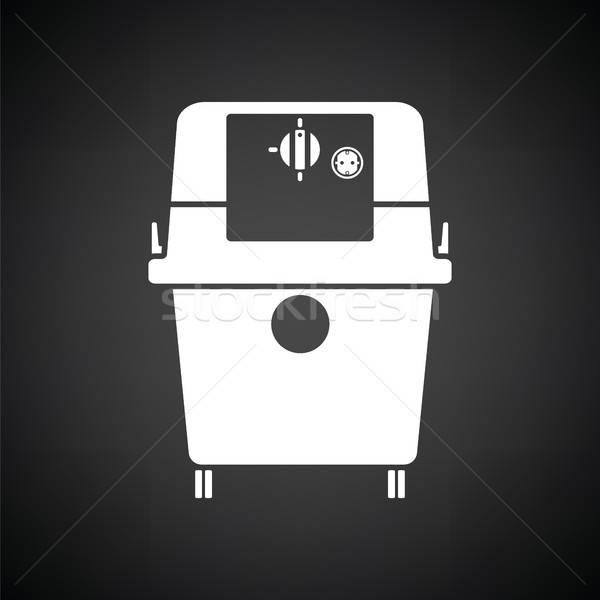Aspirapolvere icona bianco nero casa nero piano Foto d'archivio © angelp