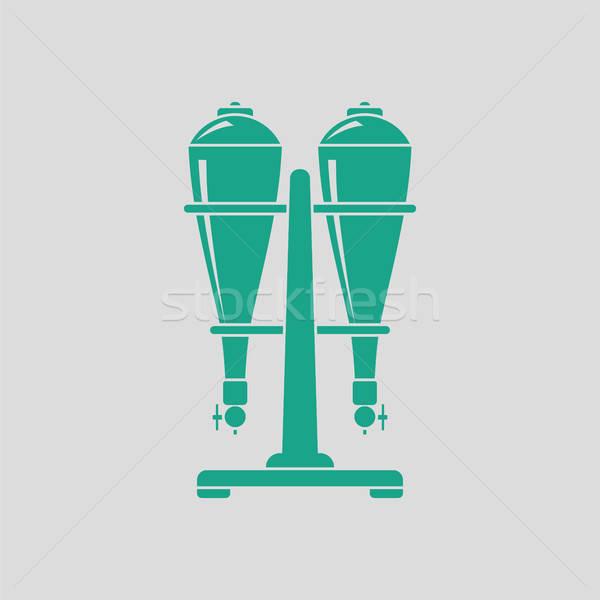 ソーダ アイコン グレー 緑 水 ストックフォト © angelp