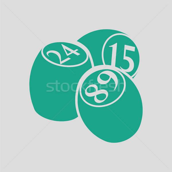 Bingo icon grijs groene achtergrond kunst Stockfoto © angelp