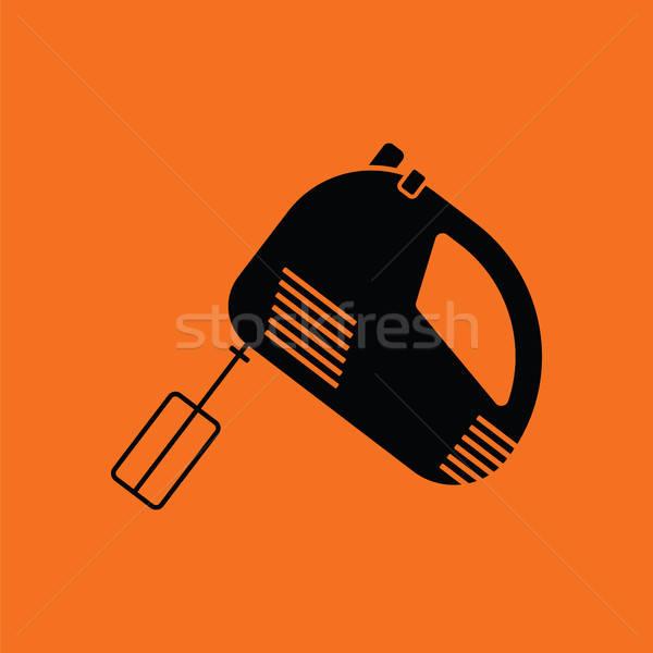 Cozinha mão batedeira ícone laranja preto Foto stock © angelp