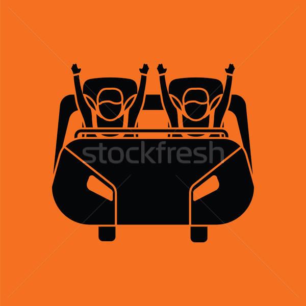 Montanha-russa carrinho ícone laranja preto diversão Foto stock © angelp